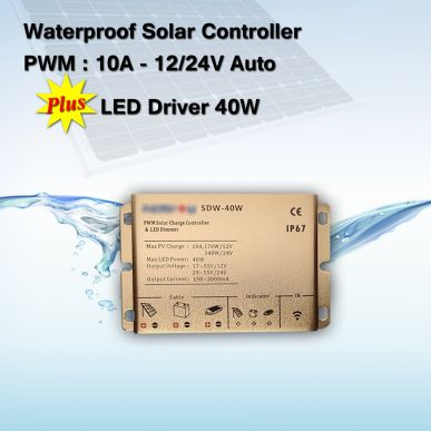 Solar Charge Controller Waterproof PWM 10A plus Driver LED 40 Watt